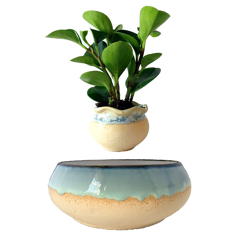US $120 0 |2018 japan magnetic levitation Floating Plants Ceramic Garden  Pots Anniversary Gifts for men free shipping (no plant)-in Flower Pots &