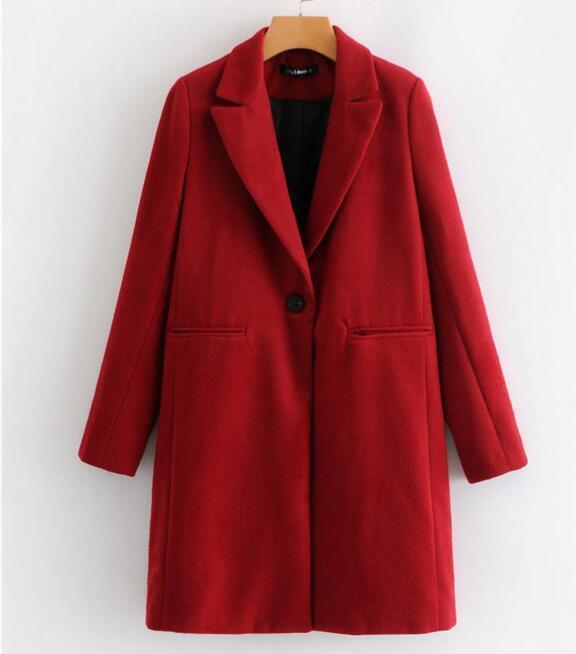 Las mujeres de invierno rojo largo abrigo de lana, una elegante botón Oversize Parka abrigo cappotto donna abrigos para mujer invierno 2019 - 6