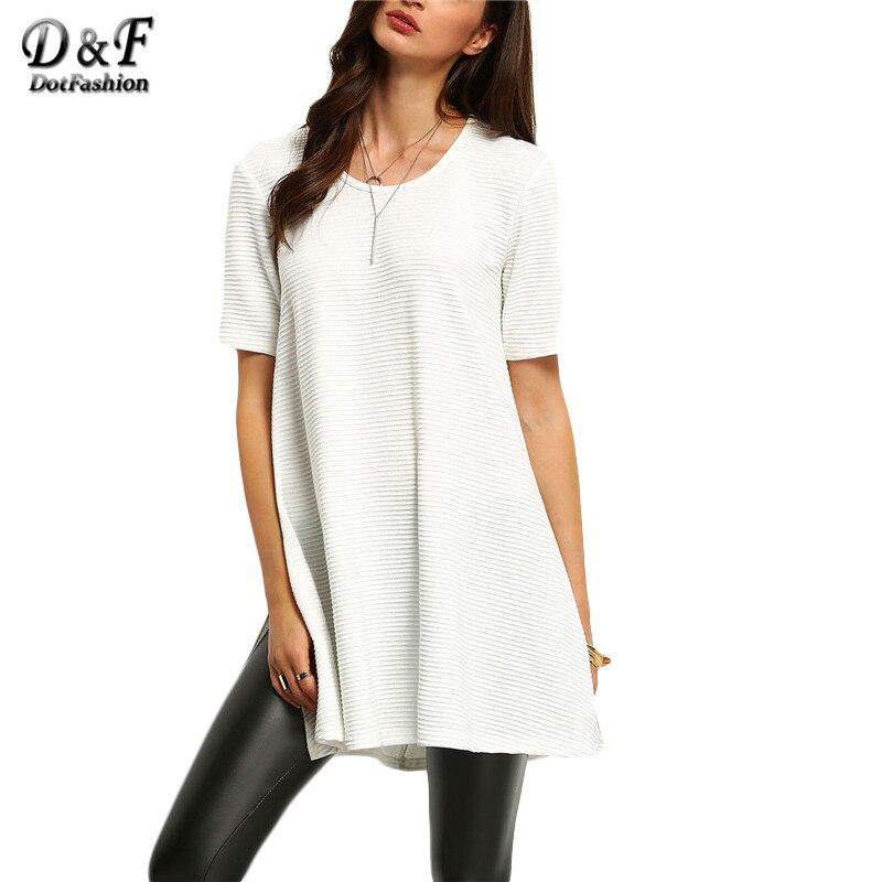 Female Hot Sale New Arrival Vogue Brand Casual Women Tees Korean Style <font><b>White</b></font> Crew Neck Short Sleeve <font><b>Ribbed</b></font> <font><b>Side</b></font> <font><b>Slit</b></font> <font><b>T-Shirt</b></font>