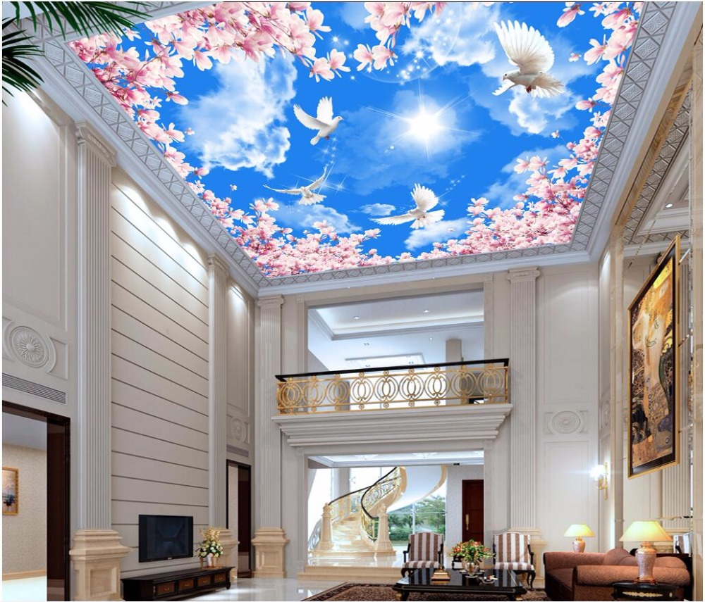 Custom photo 3d ceiling murals wallpaper white cloud for Ceiling mural wallpaper