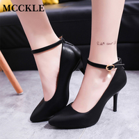 MCCKLE Woman Pointed Toe Buckle Crystal Pendent Movable Strap Stiletto Shoes Female High Heels Dress Pumps