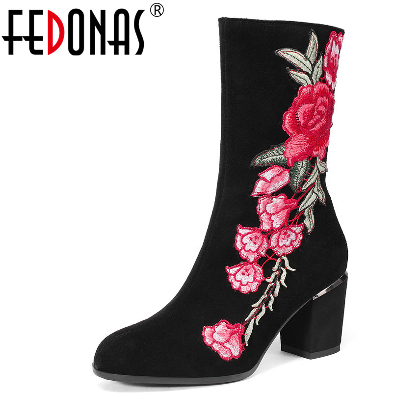 FEDONAS 1New Women Mid-Calf Boots Autumn Winter Warm Cow Suede High Heels Shoes Woman Round Toe Zipper Embroider Quality Shoes fedonas 1new women mid calf boots autumn winter warm high heels shoes woman pointed toe elegant bling party prom dancing pumps