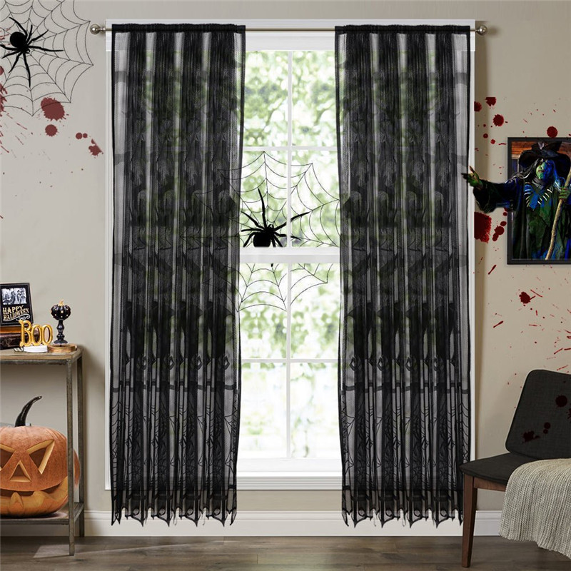 window treatment panels decorative lace window curtain halloween treatment panels for party decorations doorwindow screensin screens from home garden on