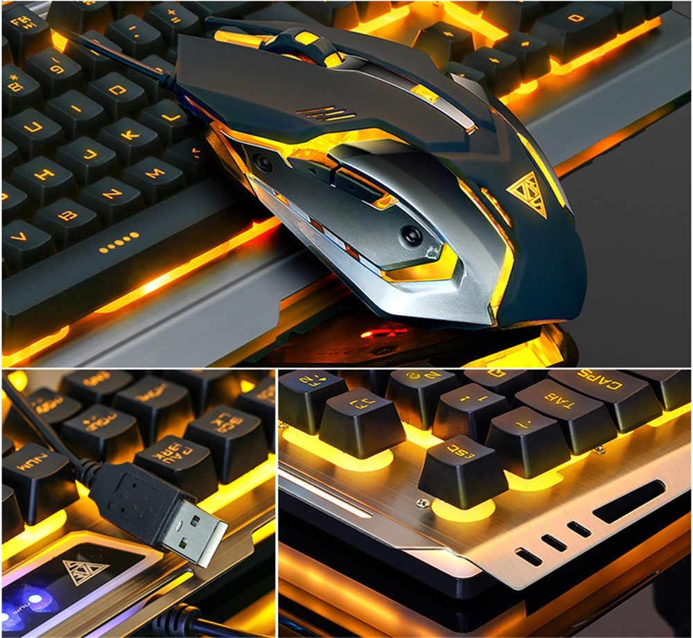 V1 игровая механическая клавиатура и Мышь комбо 104 ключ USB Проводная RGB светодиодный клавиатура с подсветкой 3 цвета Настенные переключатели для ПК L0308