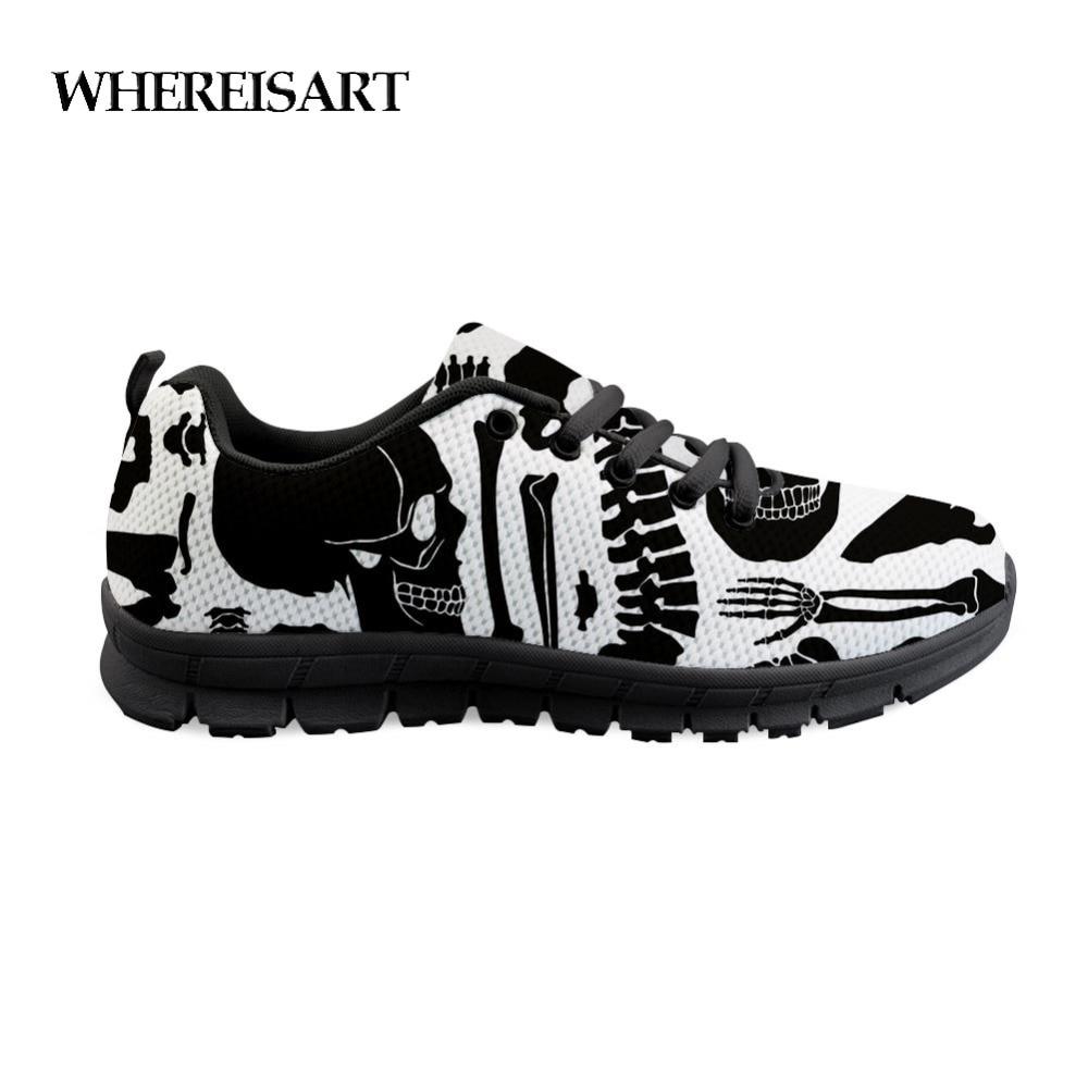 New WHEREISART Mens Sneakers Casual Bones Print Classic Flats Light Men'S Shoes Skull Black Flat Shoes Chaussure Homme de Marque