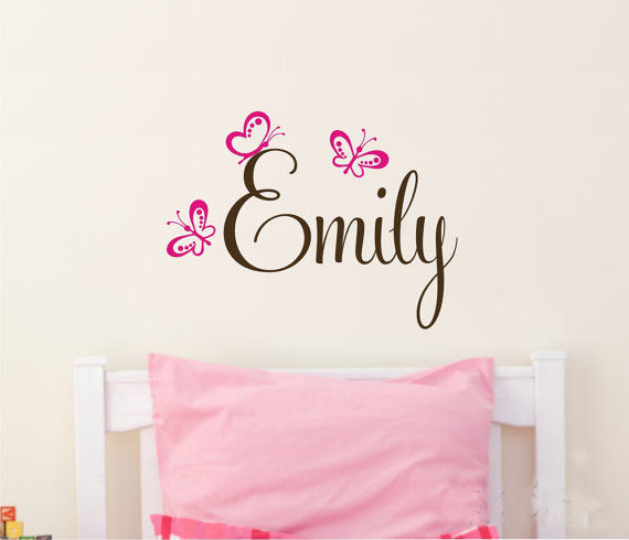 product Removable Butterflies Custom Baby's girl Name Vinyl Wall Paper Decal Art Sticker for children room decor free ship