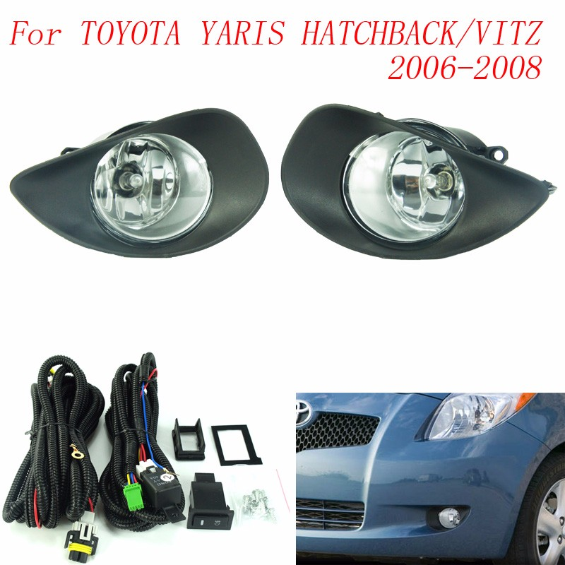 CNSPEED Fog light for for TOYOTA YARIS HATCHBACK / VITZ 2006-2008 fog lamps Clear Lens Bumper Fog Lights Driving Lamps TT100596 fog lights lamp for toyota yaris senda 2006 belta vios 2007 clear lens pair set wiring kit fog light set