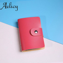 Aelicy Men Women Leather Credit Card Holder Case Card Holder Wallet Business Card wallet short wallet women zipper purse card(China)