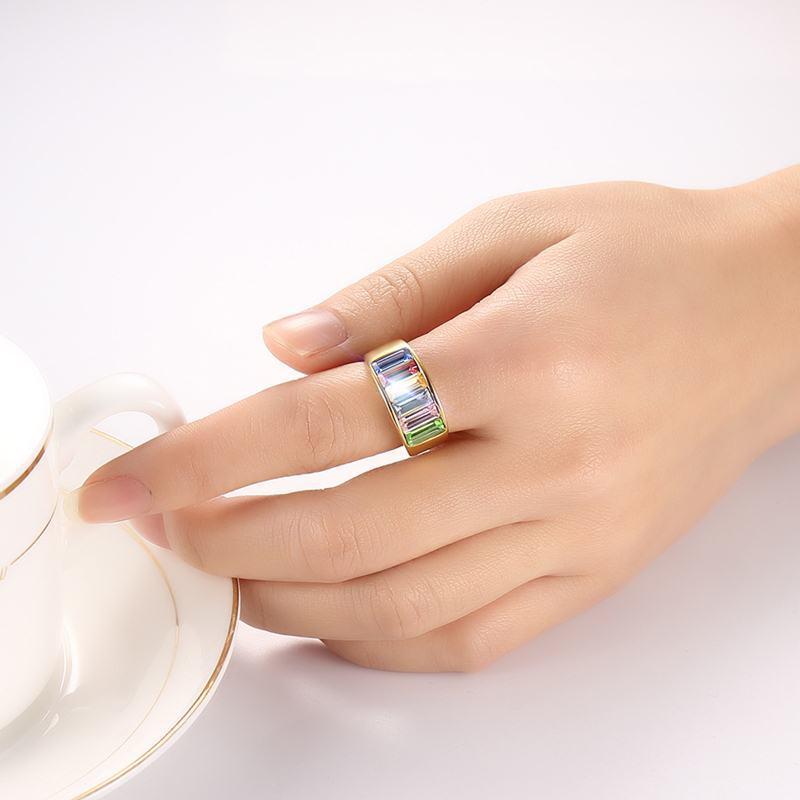 TYME 2017 nuevos productos de moda 9mm de acero inoxidable de oro anillo de color para joyería de mujer Arco Iris oro hermoso color anillo para mujer - 5