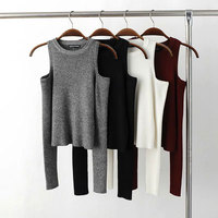 Sexy Basic Women Pullover Sweaters Female Elastic Knitted Sweater Women Off Shoulder Tops Cropped Pull Femme