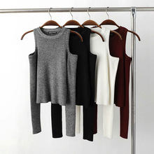 Sexy Basic Women Pullover Sweaters Female Elastic Knitted Sweater Women Off Shoulder Tops Cropped Pull Femme Short Sweaters 2019(China)