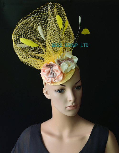 e0d5ef368733b NEW Yellow ivory pink veiling fascinator kentucky derby hat with  feathers handmade flower for wedding race .