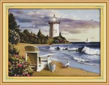 Der Leuchtturm Meer Landschaft Dmc Kreuzstich 11CT Gedruckt 14CT Handarbeit Gesetzt kreuzstich Kit Stickerei Hand