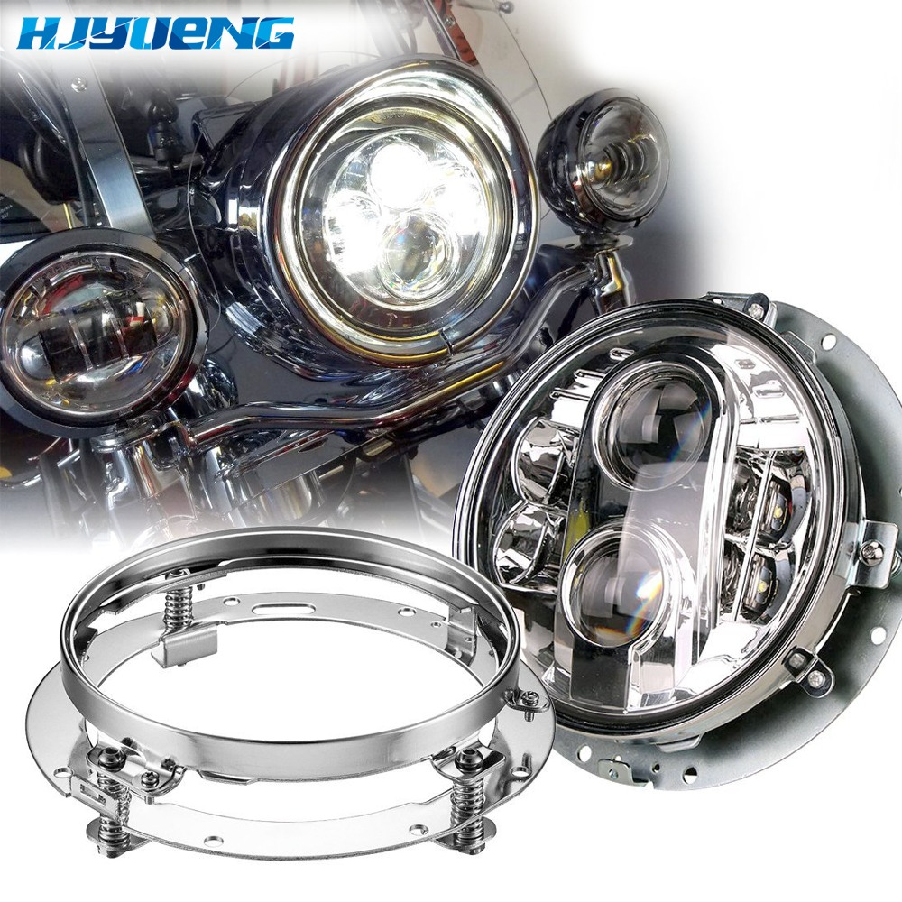 80W LED Projector for Harley Davidson Headlight DOT Motorcycle 7 Inch Round LED Headlights 7 ring bracket for Jeep Wrangler JK 7 inch round led headlight motorcycle led for jeep wrangler 7 inch 80w headlight round low hi beam headlamp for harley