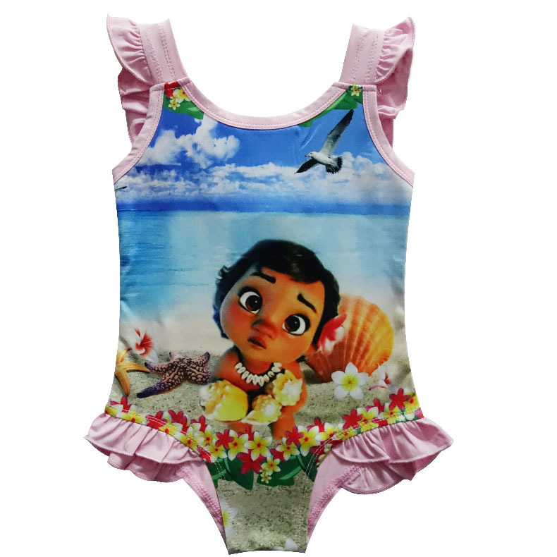 5e1688ef97c 2018 New Moana Beach trolls Girls dress vaiana Bikini one piece Swim Bow  wear Kids Vampirina