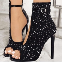 Womens Summer Open-toe Ankle Boots Rhinestone High Heels StilettoSexy Gladiator Women Rhinestone Buckle Strap Party Shoes 7N0213