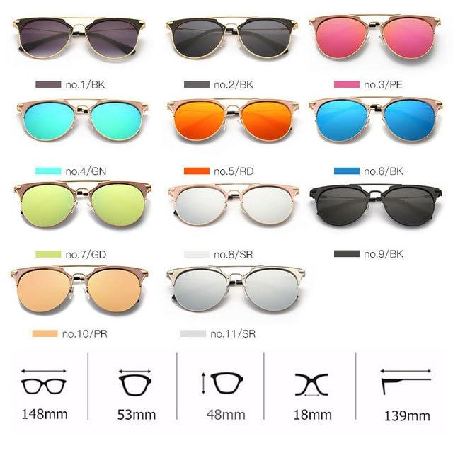 High Quality Cat Eye Sunglasses Women Brand Designer Pink Vintage Round Sun Glasses For Women Female Lady Sunglass Mirror Shades 5