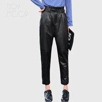 Демисезонный для женщин брюки для девочек черный штаны из натуральной кожи 100% овчины pantalon femme mujer LT2751