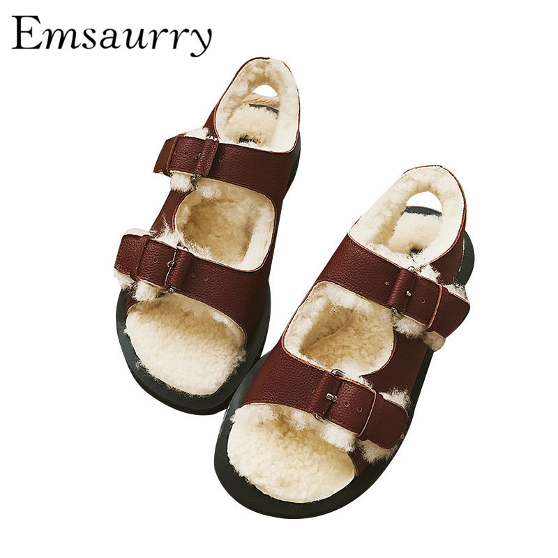 New Chic Autumn Winter Wool Sandals Women Studded Buckle Fur Embossed Leather Sandalias Zapatas De Mujer chic artificial gem shell embossed ring for women