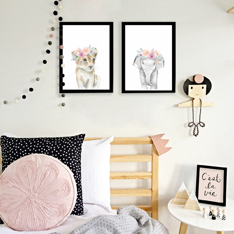Animals Floral Crown Art Decor Canvas Painting Baby Girl Prints Animal Giraffe Elephant Lion Wall Art Animals Floral Crown Art Decor Canvas Painting , Baby Girl Prints Animal Giraffe Elephant Lion Wall Art Picture Nursery Poster