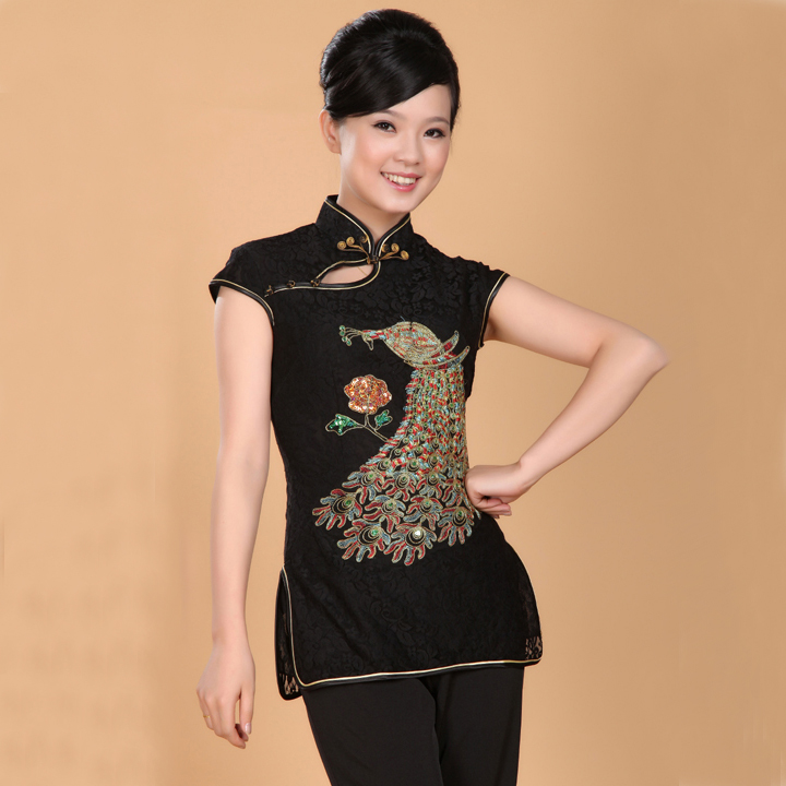 New Black Chinese Women's Lace Blouse Traditional Embroidered Shirt Top Summer Casual Blouse Peacock S M L XL XXL XXXL WS063