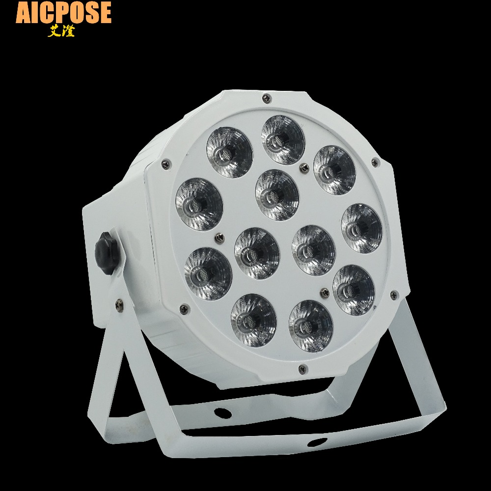 Fast Shipping 12x12w flat par led Flat White Led Par Light 12*12W Smooth RGBW Color Mixing DMX 4/8 Channels Stage Wash free shipping 16 lot dmx 18x10w rgbw led par can light for stage decoration