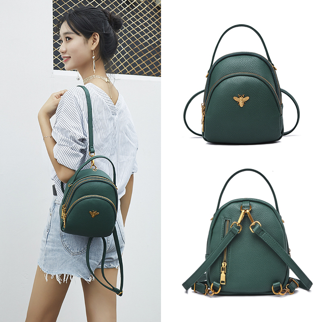 Mini Small Backpacks For Teenage Girls Women Backpack Ladies Shoulder Bags Cute PU Leather Small Women Backpack Bee sac a dos