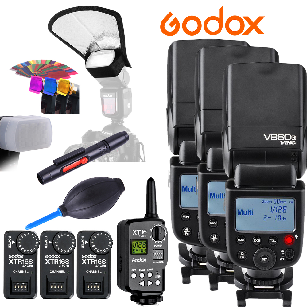 Godox VING 3xV860N V860 I-TTL HSS Master Li-ion Flash Speedlite+FT-16S Trigger Speedlite 1/8000s for Nikon D4 D800 D800E D610 D5 godox ving v860c ttl li ion high speed speedlite flash speedlight godox ft 16s wireless flash trigger kit for canon dslr