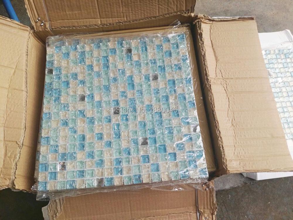 de alta calidad de cristal azul azulejos de mosaico de vidrio para bao ducha piscina wallfor
