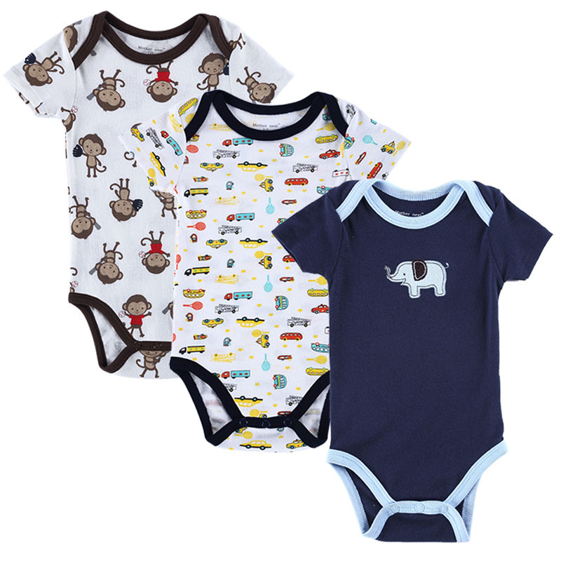 Baby Boy Short Sleeve Jumpsuit Rompers Monkey Pattern Bodysuits Newborn Clothing