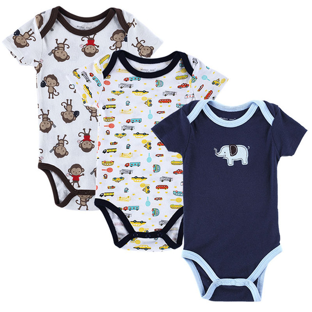 f8b4bfbf2d67 2018 New Baby Boy Clothes Baby Romper 3 PCS Short Sleeve Newborn ...