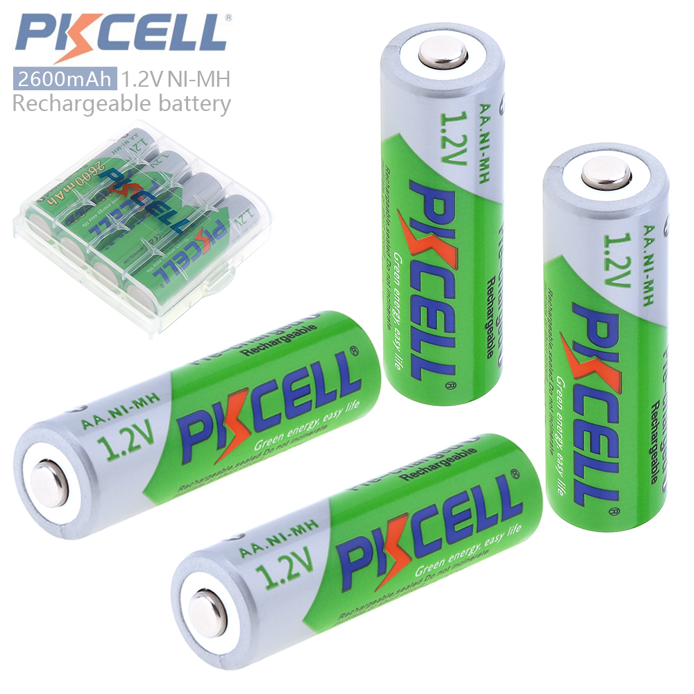 все цены на  4 x PKCELL AA Batteries NI-MH 2600Mah 1.2V AA Rechargeable Battery Batteries 2A Bateria Baterias with 1 Battery Hold Case Box  онлайн