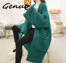 Genuo New Korean V-Neck Arrival Cardigans Auttum Long Sleeve Women Cardigan Thick Solid Pocket Female Sweater Top