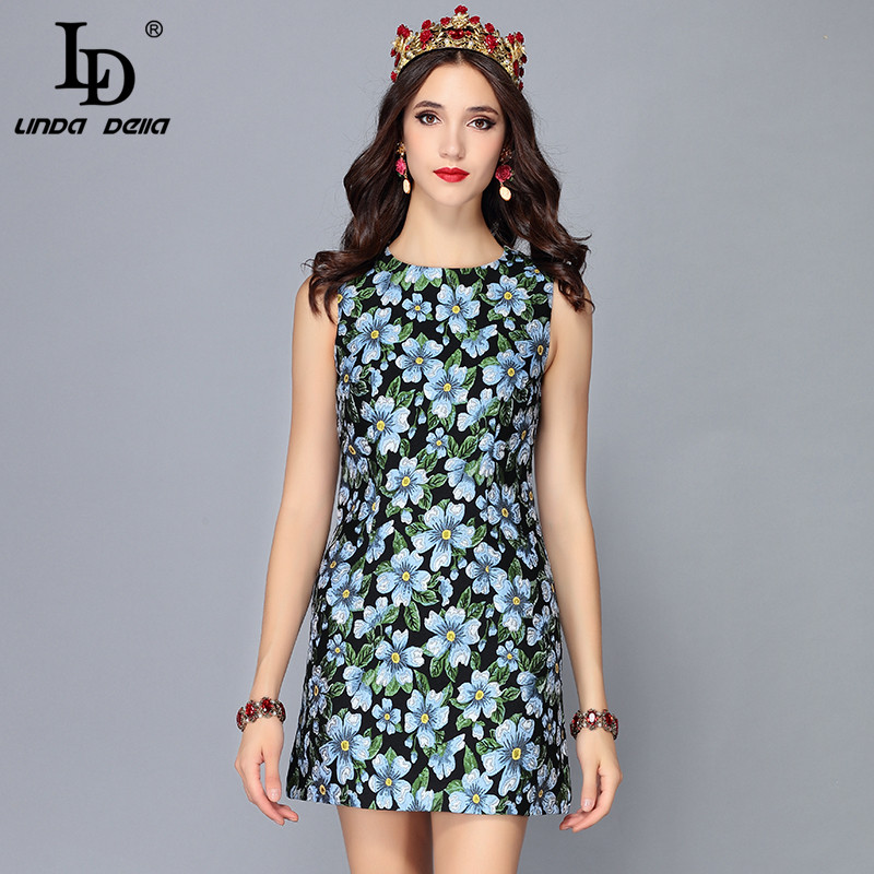 LD LINDA DELLA Runway Designer Summer Women Dress Sleeveless Jacquard Floral Print Vintage Mini Short Dress