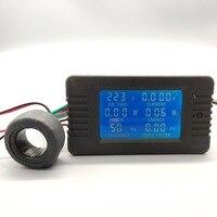 6 En 1 AC 100A Digital voltímetro amperímetro de energía de frecuencia de potencia Factor metro del Panel actual de 110V 220V LCD azul