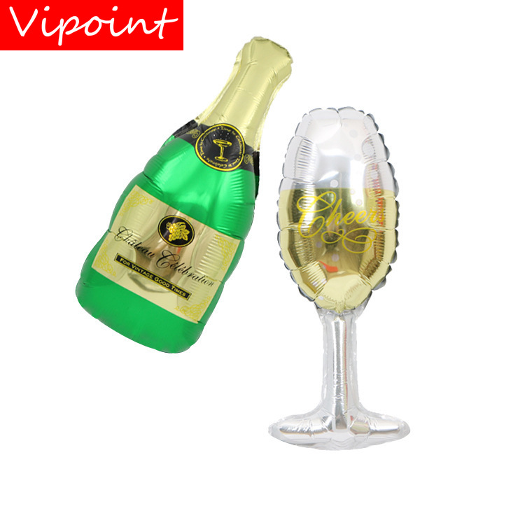 VIPOINT PARTY 50x21cm green glass winebottle foil balloons wedding event christmas halloween festival birthday party HY-249