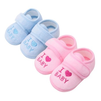 1 Pair 0-18M Cute  Baby Shoes Toddler First Walkers Cotton Soft Sole Skid-proof Kids