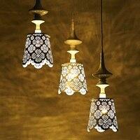 Dantel Lamba Led Avize Lambaları Ülke Sanat Evi Demir Rustik Ahşap Oyma Armatür Hollow Işık Romantik Yatak Odası
