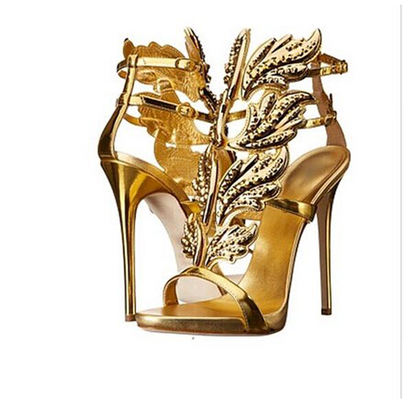 Crystal Winged Women Caged Sandals Hot Sales Gold Silver Rhinestone Leaves  Metallic Leather Gladiator High Heels Sandalias Shoes-in High Heels from  Shoes on ... bfd67e844faf