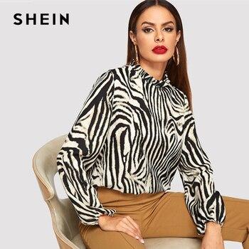 Шеин Современная леди многоцветный оборками декольте Зебра пуловеры для женщин топ для уличная осень минималистский Элегантн >> SheIn Official Store