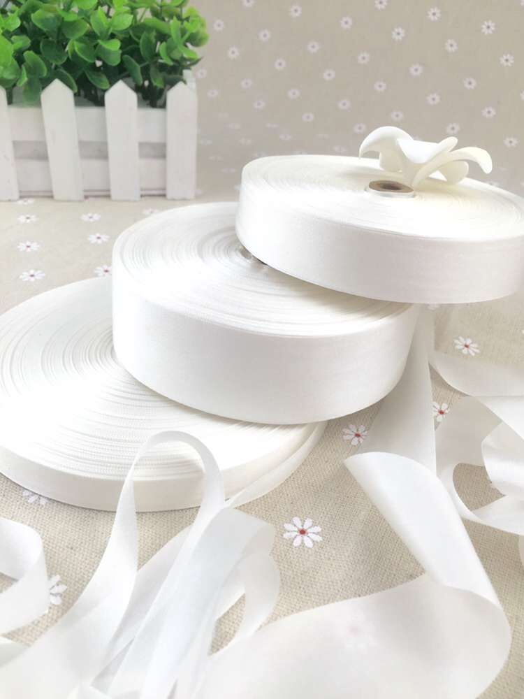 15mm--36mm undyed white 100% pure silk embroidery ribbon thin taffeta high quality Anya Ribbon Handcraft
