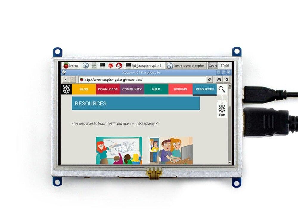 Waveshare 5 zoll HDMI LCD (B) 800*480 auflösung Resistive Touch Screen für Raspberry Pi BB Schwarz Computer Monitor Unterstützt Win10
