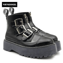 New Womens Gothic Rock Platform Shoes Retro Woman Motorcycle Ankle Boots Multi