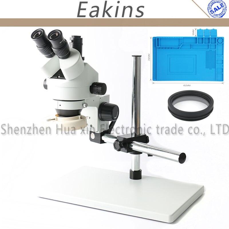 Eakins simul-focal 7-45X Zoom Microscope stéréo trinoculaire 144 LED anneau lumière isolation réparation tapis de travail
