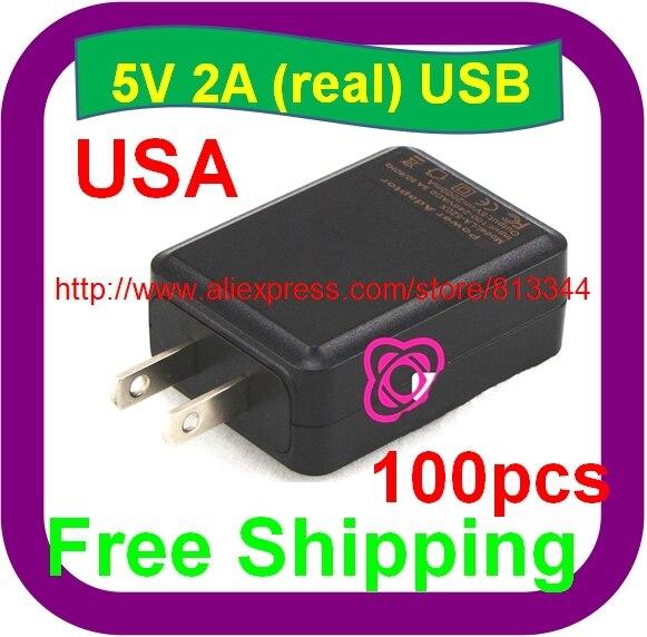 100 Stks Gratis Verzending Universele Ac/dc Adapters 5 V 2a Usb Reislader Voor Android Tablette Pc Voor Ipad