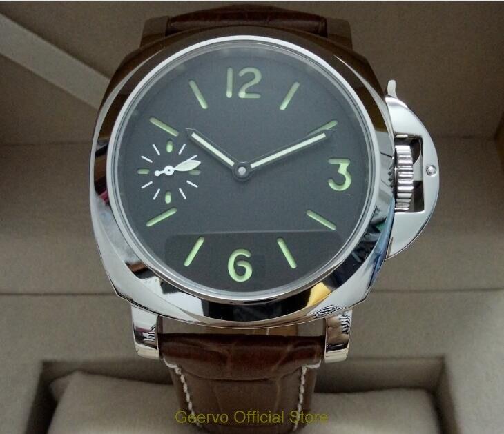 Geervo Mostrador Preto Asiático 6497 17 Jóias Movimento Vento Mão Mecânica Relógio Masculino Verde Luminoso Relógios Mecânicos 096a 44mm