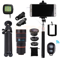 15in1 8x Zoom Telephoto Lens Fish Eye Lenses Wide Angle Macro Lentes For IPhone Samsung Xiaomi