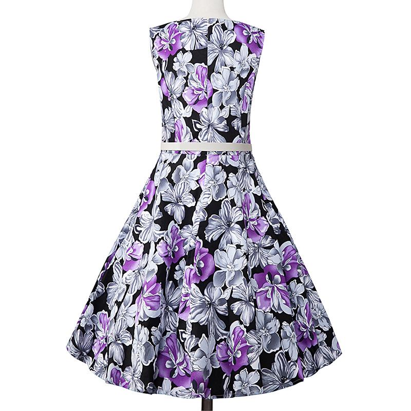 Kostlish Elegant Print Women Summer Dress Sleeveless Cotton Hepburn 50s 60s Vintage Dress With Belt Casual A-Line Ladies Dresses (48)