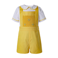 Pettigirl Wholesale Summer Yellow Easter Dress Baby Boy Clothing Sets With White T shirt and Yellow Casual Shorts B DMCS201 B490