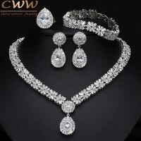 CWWZircons 4 Piece Super Sparkling Cubic Zirconia Stone Fashion African Nigerian Women Wedding Jewelry Set For